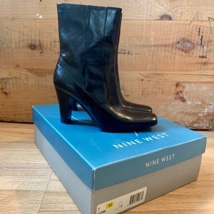 NEW NINE WEST MID CALF LEATHER BOOTS